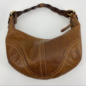 Coach Dylan Hobo brown leather braided handle bag